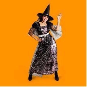 Womens Printed WITCH Halloween Costume Sz S L NWT